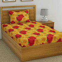 Fashion String 120 TC Microfibre Yellow Single Bedsheet with 1 Pillow Cover