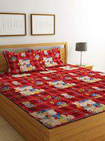 Luxury Crafts Polycotton Double Bedsheet with 2 Pillow Covers(Red)