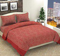 Luxury Crafts Velvet 500TC Luxurious Soft Touch Super King Size Bedding Set for Double Bed (Maroon)