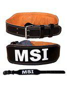 Monika sports 4 inch Wide Genuine Leather Foam Padded Gym Belt, Weight Lifting Belt Back Support
