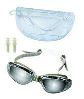 Majik Swimming Goggles with Ear Plugs for Kids and Adults UV Protection Anti Fog Goggles with Case (Multicolor)