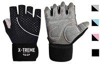 X-TREME Unisex Workout Gym Gloves for Men & Women, Weightlifting Training, Super Comfortable with Silica Gel Padding for Grip with Wrist Support for Maximum Effort, Microfiber Gloves (Black, L)