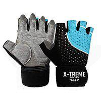 X-TREME Unisex Workout Gym Gloves for Men & Women, Weightlifting Training, Super Comfortable with Silica Gel Padding for Grip with Wrist Support for Maximum Effort, Microfiber Gloves (Blue, L)