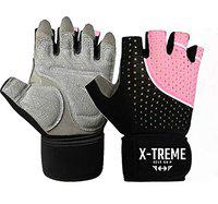 X-TREME Unisex Workout Gym Gloves for Men & Women, Weightlifting Training, Super Comfortable with Silica Gel Padding for Grip with Wrist Support for Maximum Effort, Microfiber Gloves (Pink, S)