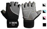 X-TREME Unisex Workout Gym Gloves for Men & Women, Weightlifting Training, Super Comfortable with Silica Gel Padding for Grip with Wrist Support for Maximum Effort, Microfiber Gloves (Grey, M)