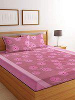 Luxury Crafts Polycotton 144TC Double Bedsheet with 2 Pillow Covers(Pink)