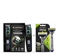 LetsShave Trim and Shave Combo for men, Beard & Body Trimmer and Pro 6 Sensitive razor