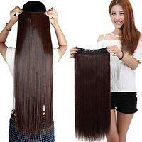 Foreign holics 24/26 Straight 3/4 Trendy Full Head One Piece 5 Clips in Hair Extensions (Dark Brown)