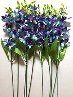 Sun Shine Artificial Orchid Flower Bunch Stems for House Decoration and Garden Decoration 26 Inches / 65 cm (Blue)