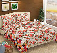 Fabture 100% Cotton Flower Printed Pure Cotton Double Bedsheet with 2 Pillow Covers - Orange