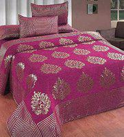 HomeStore-YEP King Size bedsheet with 2 Pillow Covers| Chenille bedcover for King Size Bed|Chennile Double bedsheets 95x105 Inches (Pink)