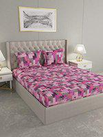 Raymond Home Cotton Double Bedsheet with 2 Pillow Covers-Pink