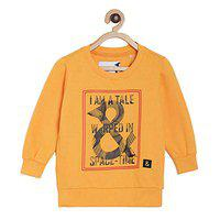 Tales & Stories Boys Mustard Yellow Printed Cotton Round Neck Sweatshirt - T337529-2-3-MU