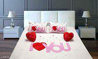 HomeStore-YEP 5 Pcs Pure Cotton I Love You Patch Luxury Designer Bedsheet with Two Pillow Covers and Two Heart Cushions for Couple: Color - Pink