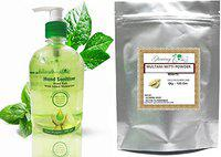 Glowing Buzz Combo Of Hand Sanitizer Germs Free Ayurvedic with Added Moisturiser 500ml (2X500ml) and 100% Pure Herbal Multani Mitti Powder (100 g) (Set of 2) (1 Pc Each)