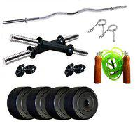 SPIRO Home Gym with 28 Kg. P.V.C Weight Plates (5 Kg. X 4 = 20 Kg. + 2 Kg. X 4 = 8 Kg.) Skipping Rope, Curl Rod & Dumbell Rods for Home Gym Exercise Fitness & Weight Lifting, Body Shaping, Fat Burning