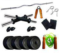 Spiro SPR_3C_DMB_SWH_30 Home Gym 30Kg. (2 .5 Kg. X 4 = 10 Kg. + 5 Kg. X 4 = 20 Kg.) With Skipping Rope, Hand Gripper & Wrist Band (Multicolor)