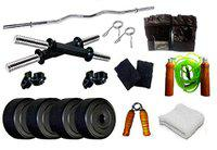 Spiro SPR_3C_DMB_GSWHT_38 Home Gym 38Kg. with Skipping Rope, Hand Gripper, Wrist Band, Gym Gloves & Gym Towel (Multicolor)