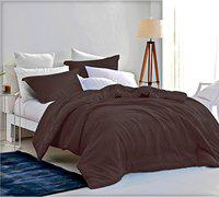 Loreto 250 TC Satin King Bedsheet with 2 Pillow Covers - Checkered Grey