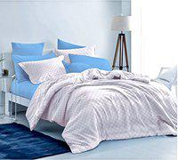 Loreto 250 TC Satin King Bedsheet with 2 Pillow Covers, Small Checkered White