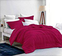 Loreto 250 TC Satin King Bedsheet with 2 Pillow Covers - Small Checkered, Maroon