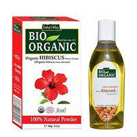 Indus Valley Organic Hibiscus Powder 100gm and Cold Pressed Almond Oil 100ml For Healthy Hair