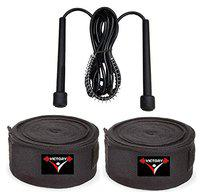 VICTORY Combo -Professional Boxing Cotton Hand Wrap & Hand Bandage - Imported with Skipping Rope Big (Black)