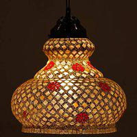 Earthenmetal surahi Shaped Decorated Glass Hanging Light