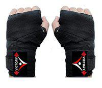 VICTORY Cotton Never Step Back 203 Boxing Hand Wrap & Boxing Support (Black)