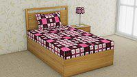 RRC Printed 144 TC Cotton bedsheets with 1 Pillow Cover - 100% Cotton Single Bedsheet (60 x 90) (Pink, Single)