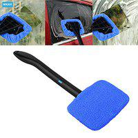 NIKAVI Window Windshield Cleaning Tool Microfiber Cloth Car Cleanser Brush with Detachable Handle Auto Inside Glass Wiper Interior Accessories Car Cleaning Kit (BLUE)