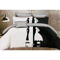 House of Sensation 100% SEMI Polycotton -Mr and Mrs Double Bedsheets Size 230cm 250 cm - with 2 Pillows Covers of 46cm 69 cm *Trend : All Season*