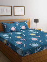 Home Sizzler 144 TC Microfibre Blue Double Bedsheet with 2 Pillow Covers
