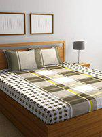 Home Sizzler 144 TC Cotton Green Extra Large Double Bedsheet (XL) with 2 Pillow Covers
