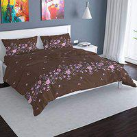 Florida Cotton 130 GSM Double Bedsheet with 2 Pillow Covers (Brown Purple, 228x245 cm)