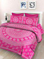 SheetKart Floral Printed 144 TC Cotton Single Bedsheet with 1 Pillow Cover, Pink