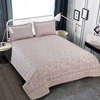 Victor Splash Coral/ Rich Cotton Viscose Luxury 400 TC Double Bedsheet with Pillow Covers Easy Wash/ Extra Soft Breathable/Fade Resistant & Cooling - 90 x 100 / 228cm x 254cm (Silver)