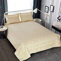 Victor Splash Coral/ Rich Cotton Viscose Luxury 400 TC Double Bedsheet with Pillow Covers Easy Wash/ Extra Soft Breathable/Fade Resistant & Cooling - 90 x 100 / 228cm x 254cm (Off White)
