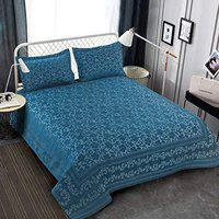 Victor Splash Coral/ Rich Cotton Viscose Luxury 400 TC Double Bedsheet with Pillow Covers Easy Wash/ Extra Soft Breathable/Fade Resistant & Cooling - 90 x 100 / 228cm x 254cm (Blue)