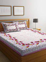 Dream Weaverz Queen Size Cotton 300 TC Flat Double Bedsheet with 2 Pillow Covers - Pink