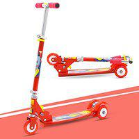 GoodLuck Baybee Skate Scooter for Kids 3 Wheel Lean to Steer 3 Adjustable Height with Suspension for Kids Boys & Girls- Red