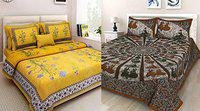 RHF Cotton Rajasthani Jaipuri Traditional Double Bedsheet Combo Pack with 2 Bedsheet and 4 Pillow Covers, Multicolor
