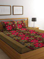 Luxury Crafts Polycotton 144TC Double Bedsheet with 2 Pillow Covers(Green)