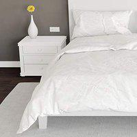 Gethitched Creations Bright White Solid 100% Cotton Single Bedsheet with 1 Pillow Cover 144 TC