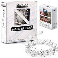 MANSAA USB Operated String Lights with Heart Bead Silver Chain, Cool White, 3 MTR 30 LED's, Pack of 1