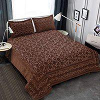 Victor Splash Coral/ Rich Cotton Viscose Luxury 400 TC Double Bedsheet with Pillow Covers Easy Wash/ Extra Soft Breathable/Fade Resistant & Cooling - 90 x 100 / 228cm x 254cm (Coffee)
