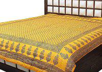 SD Enterprises Light Weight Famous Rajasthani Single Bed Soft Jaipuri AC Quilt/Razai Designer Yellow with Special Jaipuri Gold Print Cotton Quilts Blankets for Home (Size 55X85 inch) Set of 1 razai