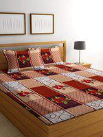 Luxury Crafts Polycotton 144TC Double Bedsheet with 2 Pillow Covers(Multi)