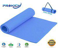Prokick Anti Skid EVA Yoga mat with Strap for Gym Workout and Flooring Exercise Long Size Yoga Mat for Men and Women - 4MM - Blue