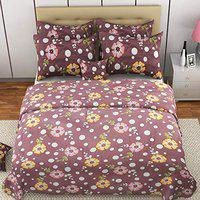 MAFATLAL Superfine Series, Pure Cotton Soft Finish Easy to Wash 220 TC Premium Bedsheets for Double Bed with 2 Pillow Covers, Luxurious Bed Sheet Set (Purple Orchids)